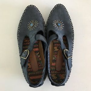 Leather Moccasins With Faux Turquoise